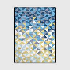Moderne Abstrakte Künstlerische Malerei Blau Gelb Dreiecke