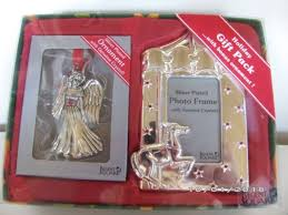 2 pc set silver plated angel and photo frame ornaments