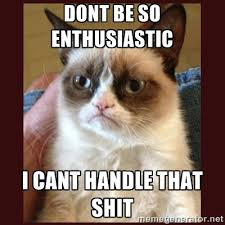 Dont be so Enthusiastic I cant handle that shit - Tard the Grumpy ... via Relatably.com