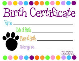 dog birth certificates printable dog birth certificate printable fake birth certificate