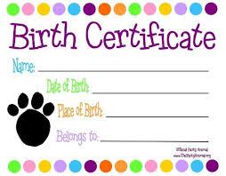 dog birth certificates printable dog birth certificate printable fake birth certificate