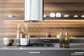 gray kitchen countertop in wooden room oven