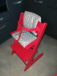 stokke tripp trapp chair in red with baby set and new covers