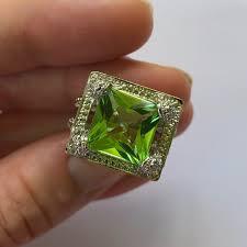 Peridot Square Shaped Gemstone Ring