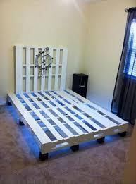 Pallet Bedroom Furniture Pallet Bed With Under Lights 101 Pallets
