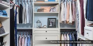 custom closet premier walk in closet with antique white finish kent