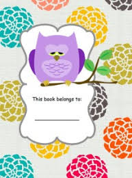 free owl book cover and book labels from happyandblessedhome