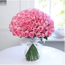 bunch of 100 pink roses