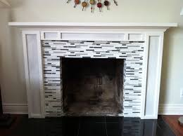 diy mantel with glass tile fireplace facelift