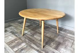 nice retro ercol coffee table round vintage light elm blonde side end lamp photo