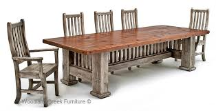 reclaimed barnwood dining table mission style dining for cool dining chair wall