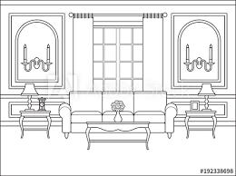 room interior vector linear living
