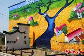giant 3d paintings draw visitors to remote village