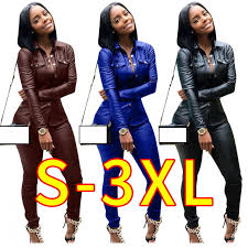 pu faux leather two piece set turn down collar cardigan 2 piece outfits for women y