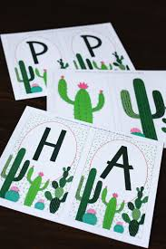 Cactus Banner Free Printable Six Clever Sisters