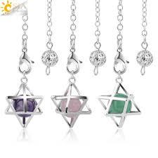 CSJA Reiki <b>Hexagon</b> Bullet Necklaces Pendants Natural Gem Stone ...