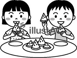 夏の子供スイカを食べるモノクロイラスト No 458638無料