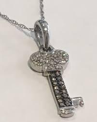 14 white gold necklace diamond key pendant j color vs clarity length 17 5