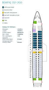 Klm Airlines Seating Chart Klm Royal Dutch Airlines Boeing 737 700 Aircraft Seating