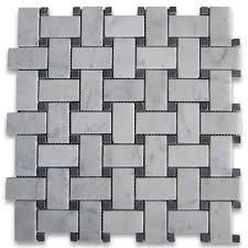 basketweave tile bathroom. Carrara White 1x2 Basketweave Mosaic Tile W/ Black Dots Honed Bathroom D
