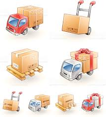 package delivery icons of hand truck van box freight pallet stock package delivery icons of hand truck van box freight pallet royalty