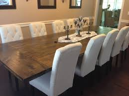 rustic dining table diy. I Showed Him Some Pictures Of What Wanted - A Rustic Restoration Hardware Inspired, Dark Plank Table With Cream Linen Upholstered Chairs. Dining Diy