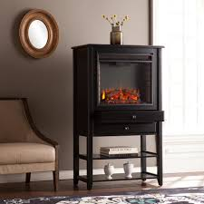 southern enterprises hanover 32 25 in w corner convertible electric fireplace storage tower in black