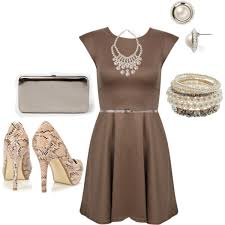 appropriate dress for wedding. wedding appropriate, classic tan dress, silver belt, purse, pearl and jewelry appropriate dress for t