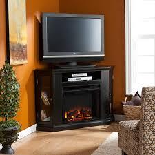 corner tv stand next to fireplace
