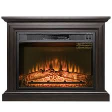 akdy fp0091 32 electric fireplace freestanding brown wooden mantel firebox heater 3d flame w logs com