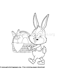 Easter Rabbit With Easter Basket Coloring Pages Getcoloringpagesorg