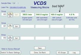 maf sensor faq troubleshooting and replacement for vw and audi you can also click log to view a graph below is a good maf the specified value and actual value are close and both can reach 800