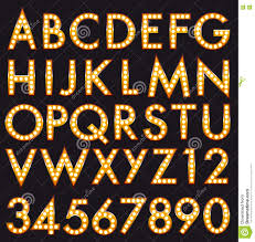 sharing labels buttons vector marquee bulb alphabet realistic letters numbers font set ispired to broadway style each