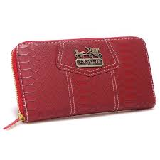 Lowest Price Coach Accordion Zip In Croc Embossed Large Red Wallets CCL  official clearance