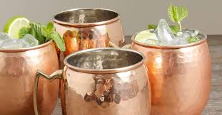 lined copper mugs
