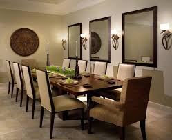 Large Wood Framed Mirror Mounted On The Dining Room Wall Dining - Mirrors for dining room walls
