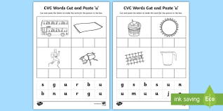 A large range of free cvc worksheets and activities designed to improve a child's ability to blend letter high quality printable cvc worksheets and other cvc resources to help your child's reading. Cvc Words Cut And Paste Worksheets U Teacher Made