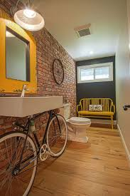 Bathroom Wood Flooring Glass Window Yellow Bathroom Gray Bathtub - Decorative glass windows for bathrooms