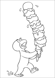 alt curious george coloring pages eating ice cream