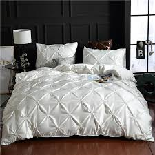 white luxury 100 super soft washed silk duvet cover set pinch pleat brief bedding sets queen king size duvets covers cotton bedding from blithenice