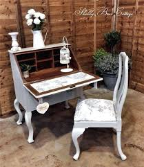 shabby chic writing desk painted vintage antique bureau and chair queen chairs dressing tables writers fresh