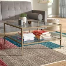 Fallis Square Metal/Glass Open Shelf Coffee Table