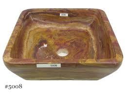 picture of soluna square vessel sink in rare red onyx