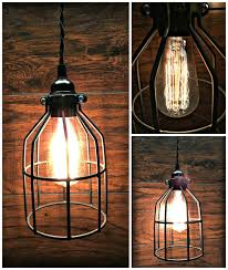 wire cage pendant light. Cool Black Cage Pendant Light \u2013 Twisted Wire Chic Edison Bulb Industrial O