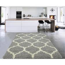 cozy collection gray cream moroccan trellis design 3 ft x 5