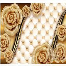 3d wallpapers luxury golden rose flower ...