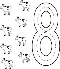 Small Picture Learn Number 8 with Eight Cows Coloring Page Bulk Color