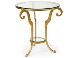 wildwood lamps bailey antique gold leaf and clear 27 5 round side table