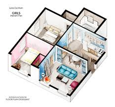 watercolor floorplans from recent television shows and s floor plans of homes from famous