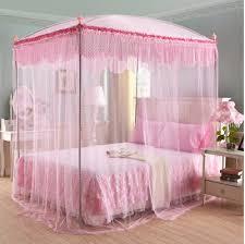 Canopy Bed Design, Canopy Princess Bed Square Pink Lace Mosquito Net Door  Three Door Open